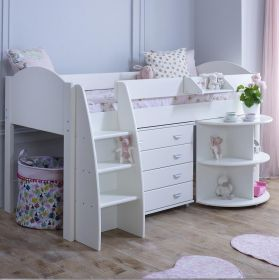 Kids Avenue Eli D Midsleeper Cabin Bed & Pull-out Desk & Drawers (formerly Stompa Rondo D Midsleeper Bed)