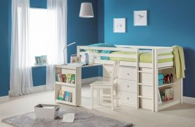 Julian Bowen Roxy Midsleeper Cabin Bed in Stone White
