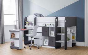 Julian Bowen Saturn Grey & White Midsleeper Bed
