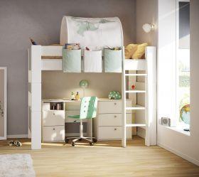 Steens for Kids High Sleeper + Desk + 3 Drawer Chest in Solid Plain White