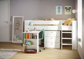 Steens For Kids Midsleeper + 3 Drawer Chest + Pull out Desk in Solid Plain White