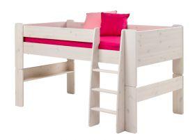 Steens For Kids Midsleeper + Bookcase + Desk in Whitewash