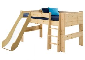 Steens for Kids Midsleeper Bed with Slide in Natural Lacquer
