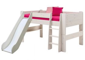 Steens for Kids Midsleeper Bed with Slide in Whitewash