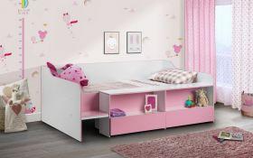Julian Bowen Stella Pink Low-Sleeper Bed + Quilted Sprung Mattress