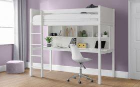 Julian Bowen Titan White Highsleeper Bed with Desk & Storage