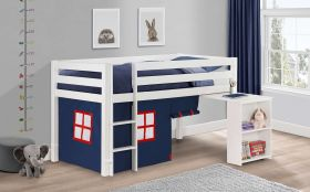 Julian Bowen Wendy Midsleeper Bed with Blue Tent & Pull Out Desk in Surf White