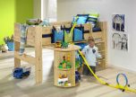 Steens For Kids Midsleeper + Bookcase + Desk in Natural Lacquer