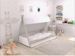 Flair Teepee Single Bed in White and Grey