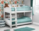 Julian Bowen Domino White Bunk Bed - With 2 x Quilted Sprung Mattresses