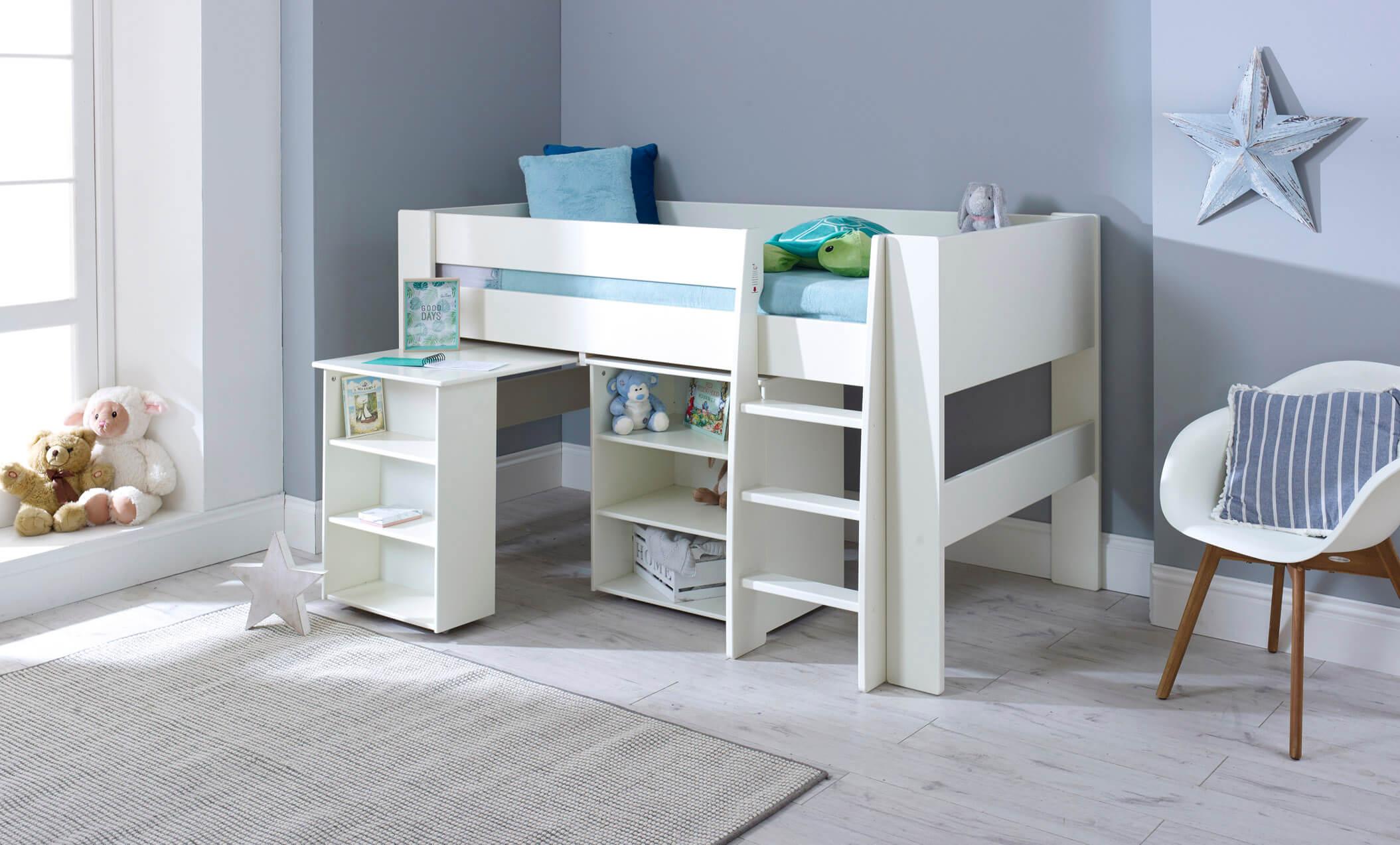 Steens White Midsleeper Bookcase Desk Children S Bed Shop